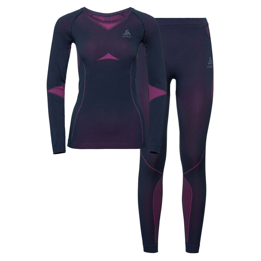 Damen ODLO PERFORMANCE WARM Funktionsunterwäsche Set, peacoat-pink glo