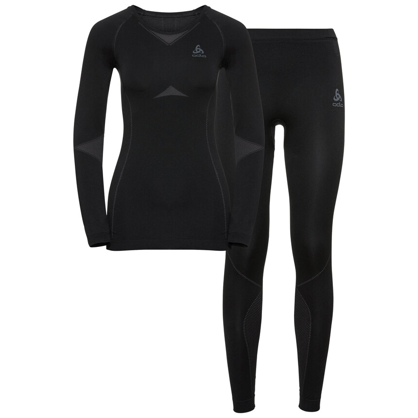 Damen ODLO PERFORMANCE WARM Funktionsunterwäsche Set, black - odlo graphite grey