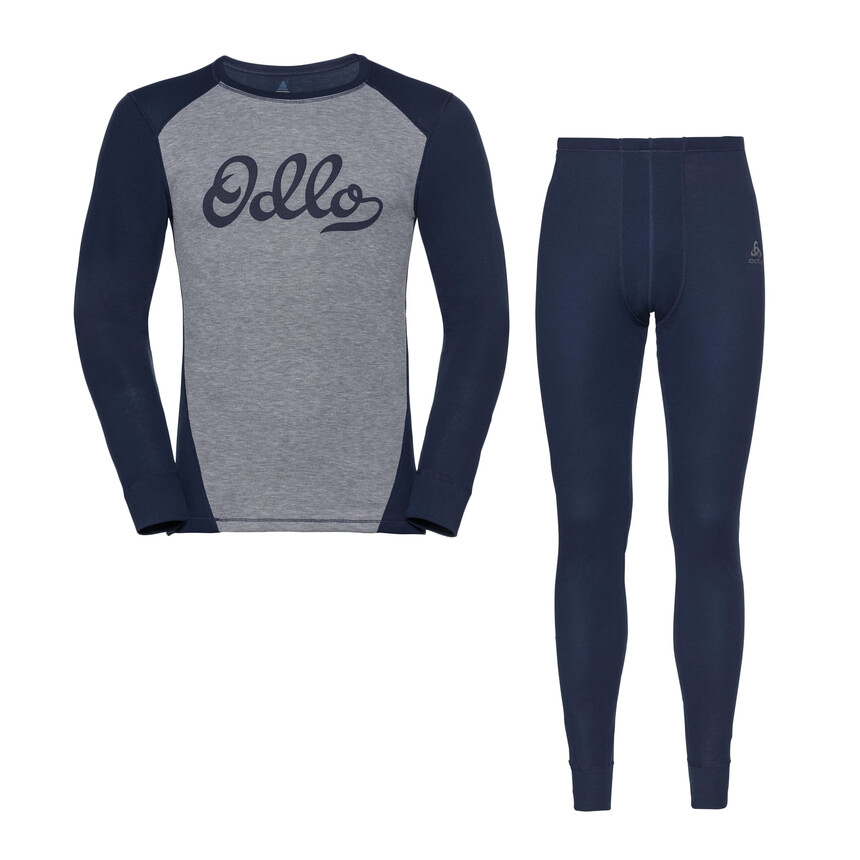 ODLO WARM ORIGINALS Herren Funktionswäsche Set, Grey Melange - Diving Navy